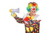 Clown with loudspeaker — Stock Photo