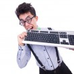 在有趣的概念计算机 geek 书呆子 — 图库照片