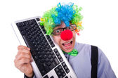 Funny guy with clown wig — Stockfoto