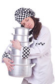 Cook with stack of pots — Stock Photo
