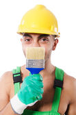 Painter in green coveralls — Stock Photo