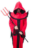 Man devil in red costume — Stockfoto