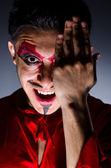 Man in devil costume in halloween concept — Stock Photo