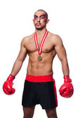 Badly beaten boxer — Stock Photo