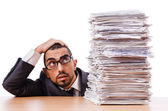 Man with too much work to do — Foto Stock