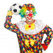 Stock Photo: Clown with football ball