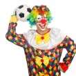 Clown with football ball — Stock Photo