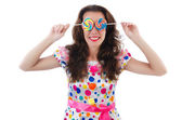 Woman with lollipops — Stock Photo