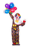 Clown with balloons isolated on white — Stock Photo