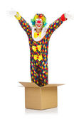 Clown jumping out of the box — Stock Photo
