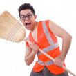 Stock Photo: Funny janitor