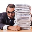 Stock Photo: Man with too much work to do