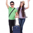 Students ready for travel on white — Stock Photo #31433049