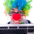 Funny guy with clown wig — Stock Photo