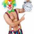 Clown with alarm clock — Stock Photo