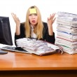 Woman busy working in the office — Stock Photo