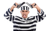 Prisoner with guns — Stock Photo