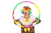 Clown with hula hoop — Stock Photo