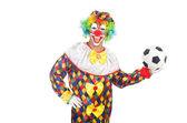 клоун с футбольный мяч — Стоковое фото