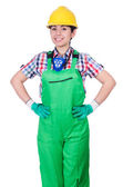 Young woman in green coveralls — Stock Photo