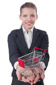 Businesswoman with shopping cart — Stock Photo