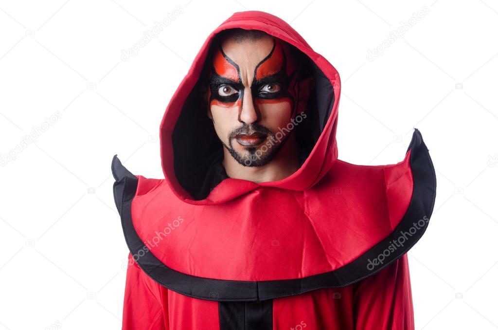 Diablo de hombre en traje rojo fotos de stock elnur for Cara pintada diablo