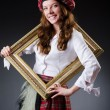 Scottish womwith frame — Stock Photo #32098623