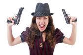 Gangster mladá žena s pistolí — Stock fotografie