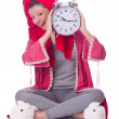 Housewife with clock — Stock Photo