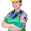Stock Photo: Young womin green coveralls