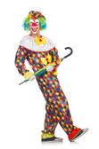 клоун с зонтом — Стоковое фото