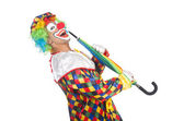 Clown mit schirm — Stockfoto