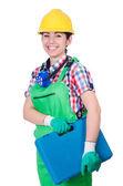 Mladá žena v zelené kombinéze — Stock fotografie