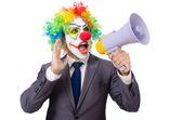 бизнесмен клоун с громкоговорителем — Стоковое фото