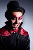 Man in devil costume in halloween concept — Stock Photo