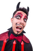 Man in devil costume in halloween concept — Stockfoto
