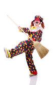 клоун с метлой — Стоковое фото