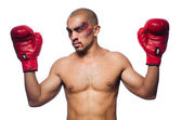 Badly beaten boxer — Stock Photo