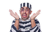 Badly bruised prisoner with handcuffs — Stock Photo