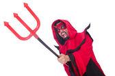 Man devil in red costume — Stock Photo