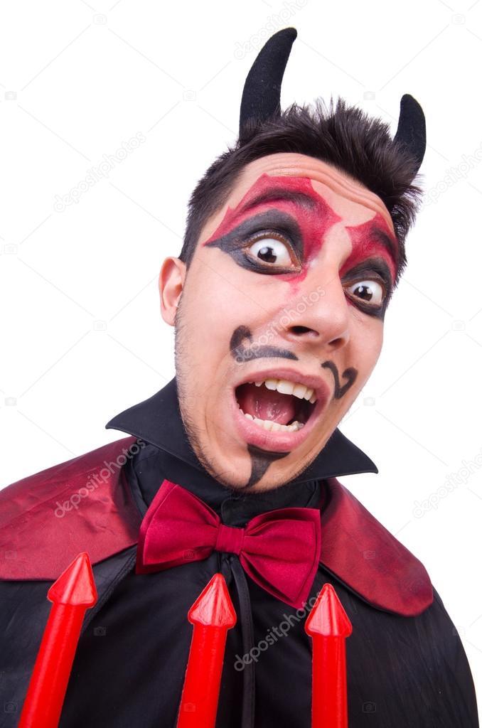 Hombre en traje del diablo en concepto de halloween foto for Cara pintada diablo