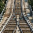 Stock Photo: Rail tracks in bright summer day