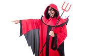 человек дьявол в красный костюм — Стоковое фото