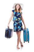 Woman with suitcases — Stock Photo