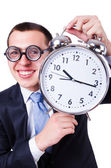 Businessman with clock — Stok fotoğraf