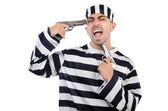 Prigioniero con pistole — Foto Stock
