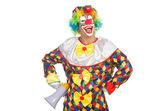 клоун с громкоговоритель — Стоковое фото