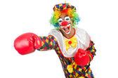 Klaun s boxerské rukavice — Stock fotografie