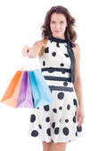 Girl after good shopping — Stock Photo