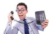 Crazy man with phone — Stock Photo